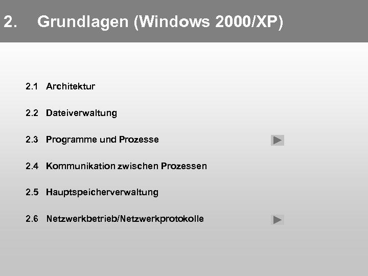 2. Grundlagen (Windows 2000/XP) 2. 1 Architektur 2. 2 Dateiverwaltung 2. 3 Programme und