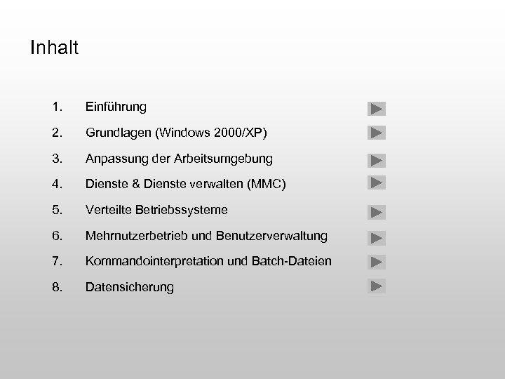 Inhalt 1. Einführung 2. Grundlagen (Windows 2000/XP) 3. Anpassung der Arbeitsumgebung 4. Dienste &