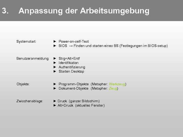 3. Anpassung der Arbeitsumgebung Systemstart: ► Power-on-self-Test ► BIOS → Finden und starten eines