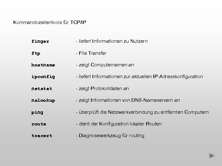 Kommandozeilentools für TCP/IP finger - liefert Informationen zu Nutzern ftp - File Transfer hostname