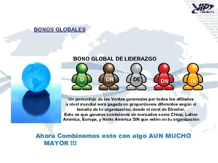 BONOS GLOBALES BONO GLOBAL DE LIDERAZGO D DR DE DN DI Un porcentaje de