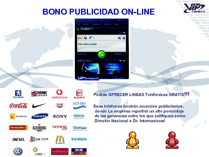 BONO PUBLICIDAD ON-LINE Podrás OFRECER LINEAS Telefónicas GRATIS!!! Esos teléfonos tendrán anuncios publicitarios, donde
