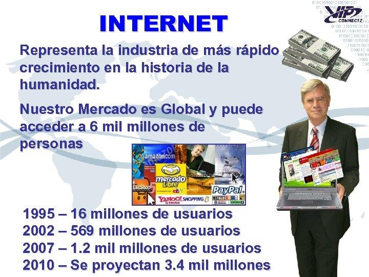 INTERNET Representa la industria de más rápido crecimiento en la historia de la humanidad.