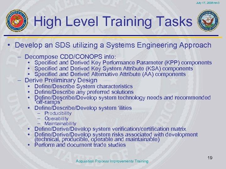 July 17, 2008 rev 3 High Level Training Tasks • Develop an SDS utilizing