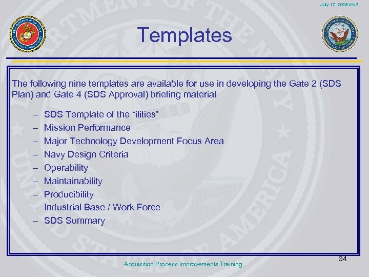 July 17, 2008 rev 3 Templates The following nine templates are available for use