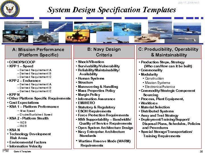 July 17, 2008 rev 3 System Design Specification Templates A: Mission Performance (Platform Specific)