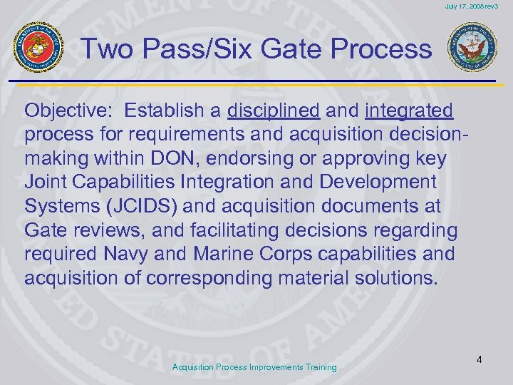 July 17, 2008 rev 3 Two Pass/Six Gate Process Objective: Establish a disciplined and