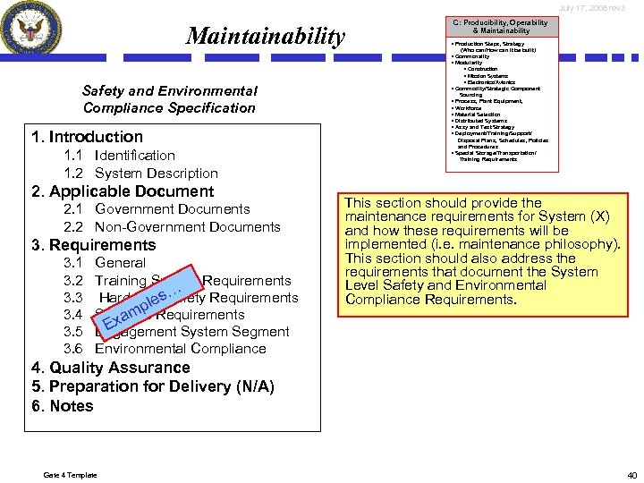 July 17, 2008 rev 3 Maintainability Safety and Environmental Compliance Specification 1. Introduction 1.