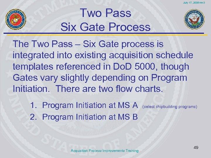 July 17, 2008 rev 3 Two Pass Six Gate Process The Two Pass –