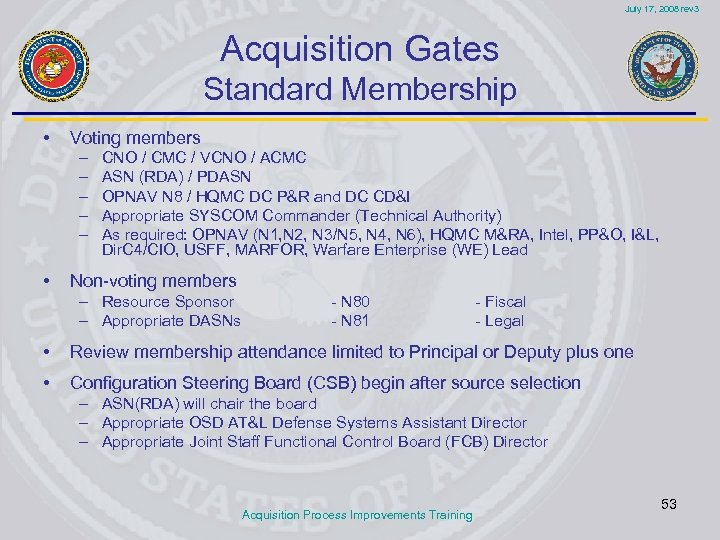 July 17, 2008 rev 3 Acquisition Gates Standard Membership • Voting members – –