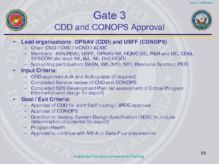 July 17, 2008 rev 3 Gate 3 CDD and CONOPS Approval • Lead organizations: