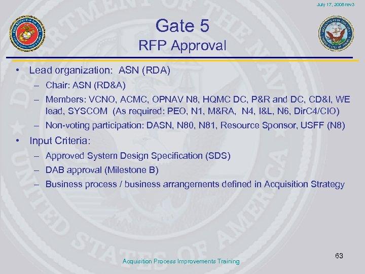 July 17, 2008 rev 3 Gate 5 RFP Approval • Lead organization: ASN (RDA)