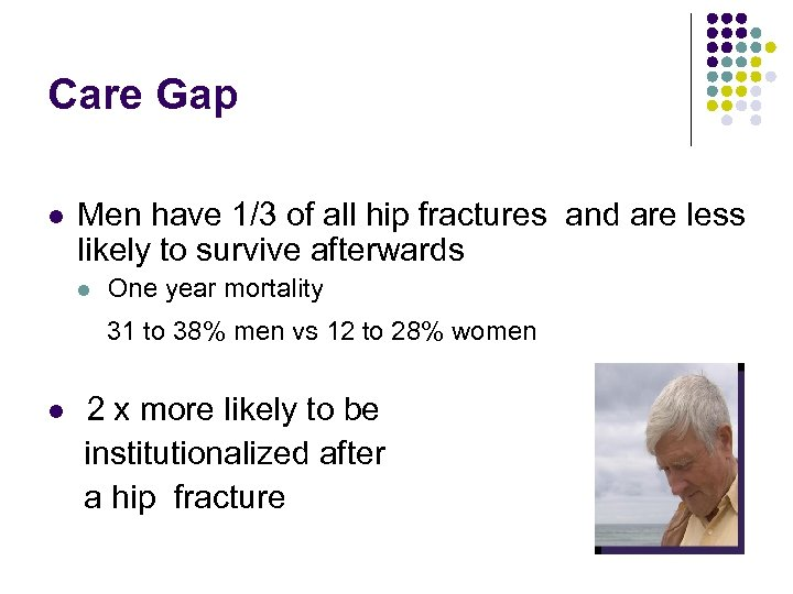 Care Gap l Men have 1/3 of all hip fractures and are less likely