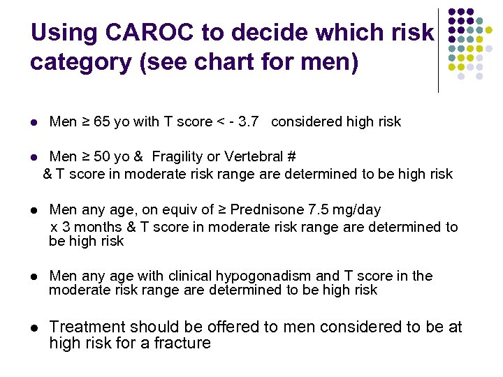 Using CAROC to decide which risk category (see chart for men) l Men ≥