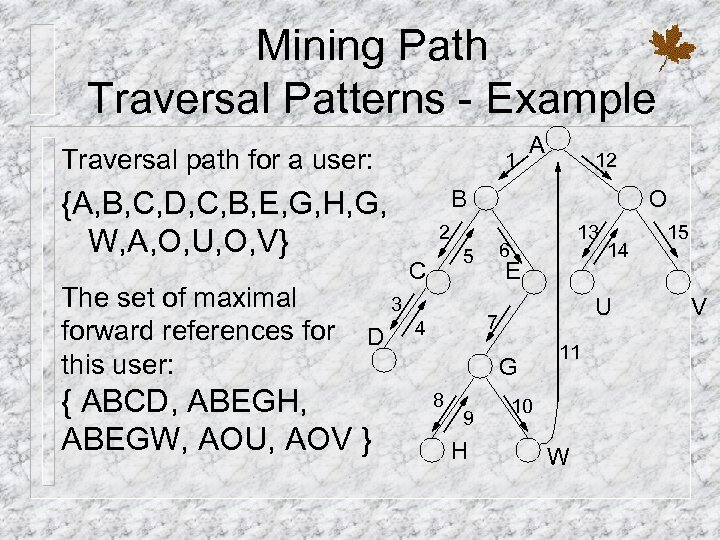 Mining Path Traversal Patterns - Example Traversal path for a user: 1 {A, B,