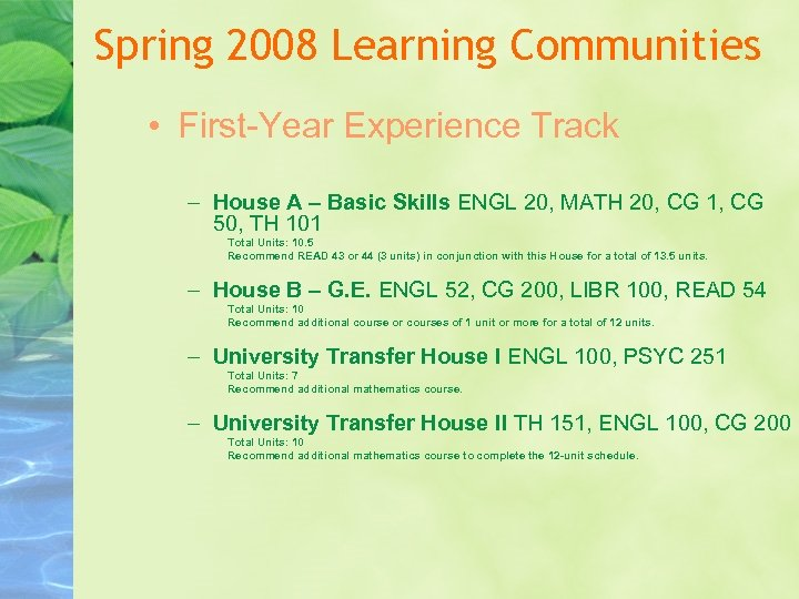Spring 2008 Learning Communities • First-Year Experience Track – House A – Basic Skills