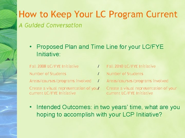 How to Keep Your LC Program Current A Guided Conversation • Proposed Plan and