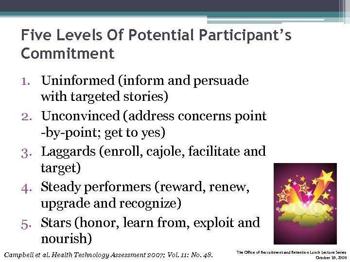 Five Levels Of Potential Participant's Commitment 1. Uninformed (inform and persuade with targeted stories)