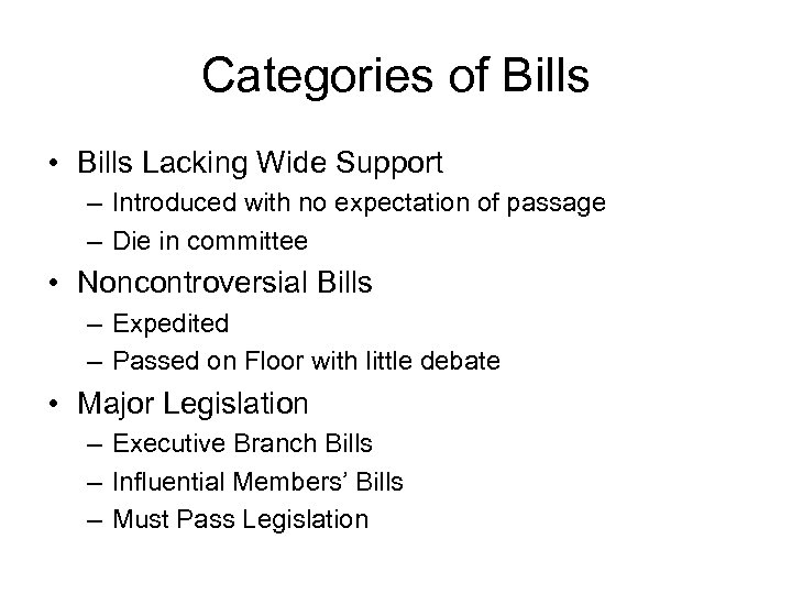 Categories of Bills • Bills Lacking Wide Support – Introduced with no expectation of