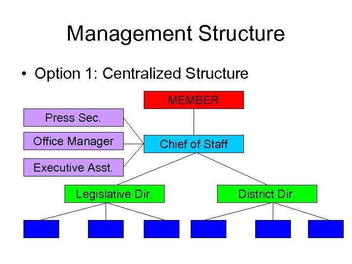 Management Structure • Option 1: Centralized Structure MEMBER Press Sec. Office Manager Chief of