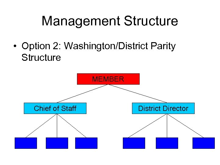 Management Structure • Option 2: Washington/District Parity Structure MEMBER Chief of Staff District Director