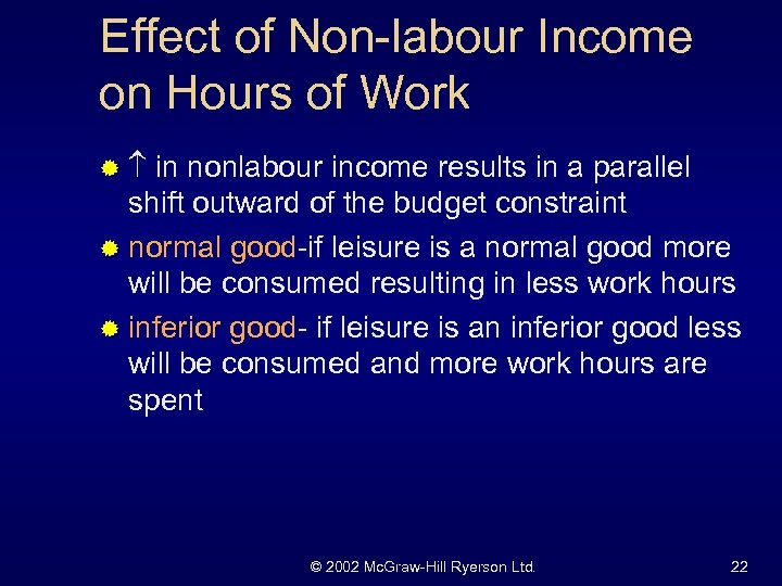 Effect of Non-labour Income on Hours of Work ® in nonlabour income results in