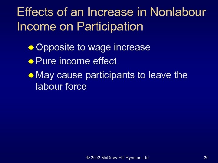 Effects of an Increase in Nonlabour Income on Participation ® Opposite to wage increase