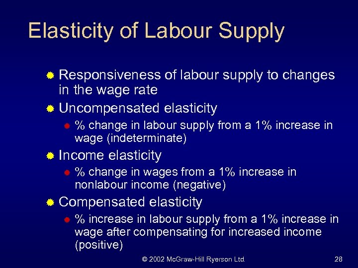 Elasticity of Labour Supply ® Responsiveness of labour supply to changes in the wage