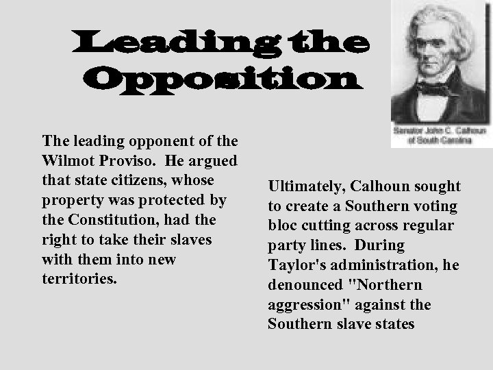 Leading the Opposition The leading opponent of the Wilmot Proviso. He argued that state
