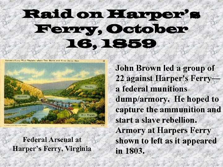 Raid on Harper's Ferry, October 16, 1859 Federal Arsenal at Harper's Ferry, Virginia John