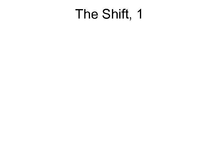 The Shift, 1