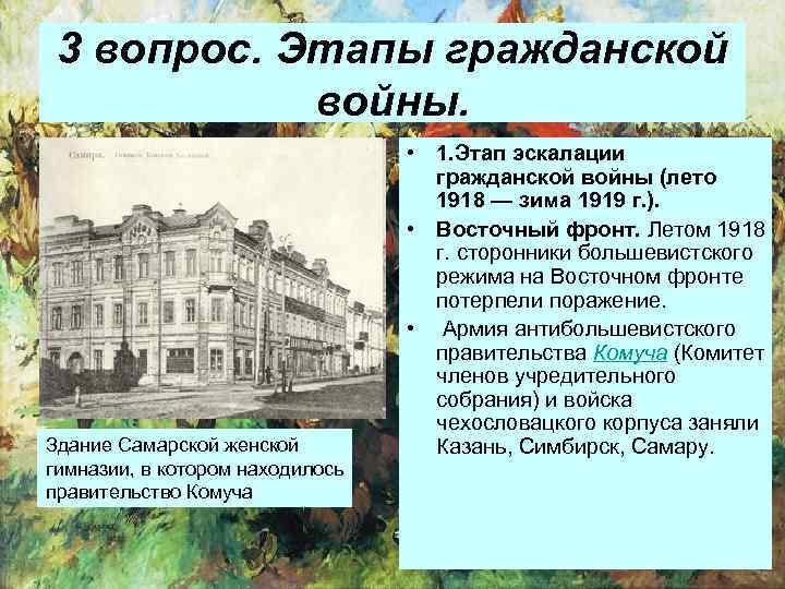 3 вопрос. Этапы гражданской войны. Здание Самарской женской гимназии, в котором находилось правительство Комуча