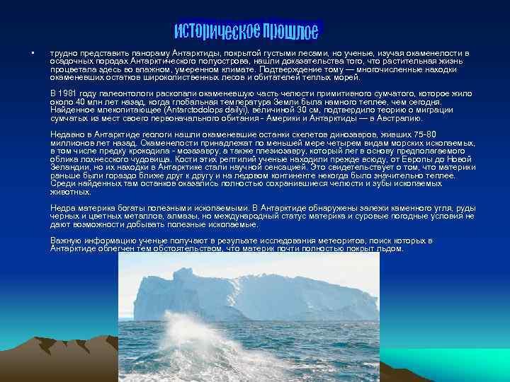 • трудно представить панораму Антарктиды, покрытой густыми лесами, но ученые, изучая окаменелости в