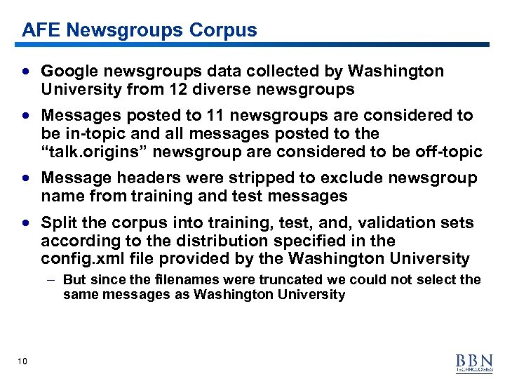 AFE Newsgroups Corpus · Google newsgroups data collected by Washington University from 12 diverse