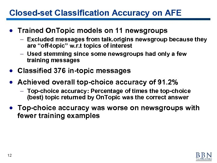 Closed-set Classification Accuracy on AFE · Trained On. Topic models on 11 newsgroups –