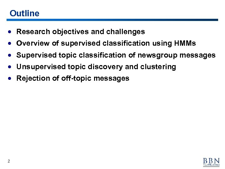 Outline · Research objectives and challenges · Overview of supervised classification using HMMs ·