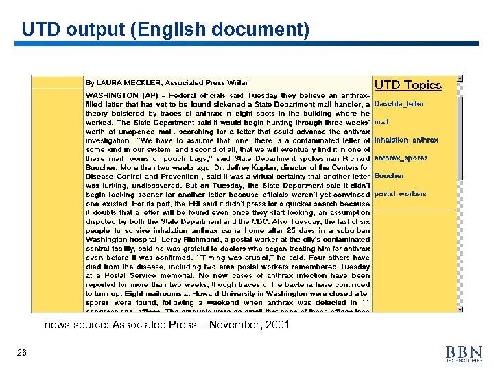 UTD output (English document) news source: Associated Press – November, 2001 26