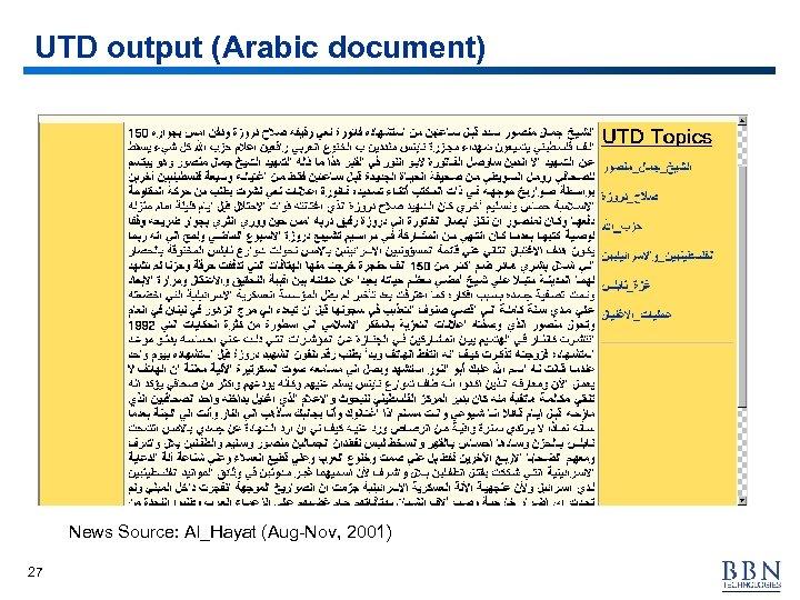 UTD output (Arabic document) News Source: Al_Hayat (Aug-Nov, 2001) 27