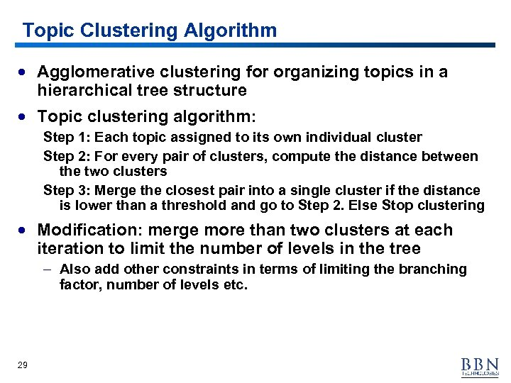 Topic Clustering Algorithm · Agglomerative clustering for organizing topics in a hierarchical tree structure