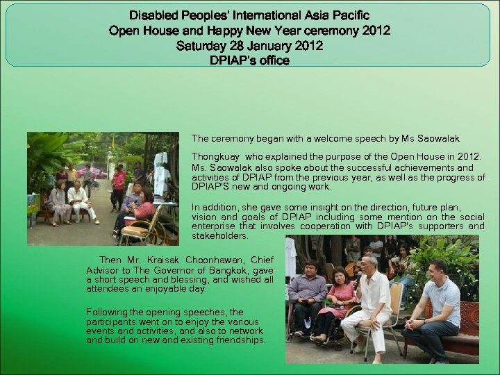Disabled Peoples' International Asia Pacific Open House and Happy New Year ceremony 2012 Saturday