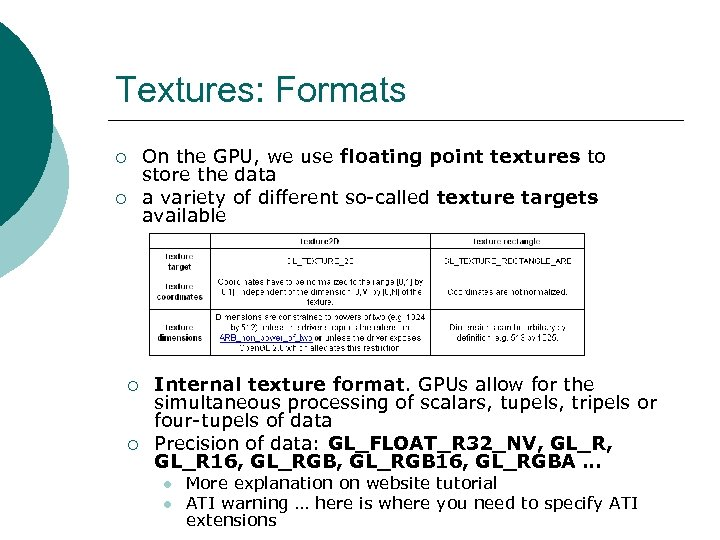 Textures: Formats ¡ ¡ On the GPU, we use floating point textures to store
