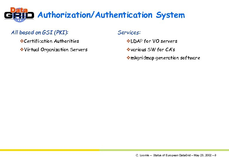 Authorization/Authentication System All based on GSI (PKI): Services: v. Certification Authorities v. LDAP for