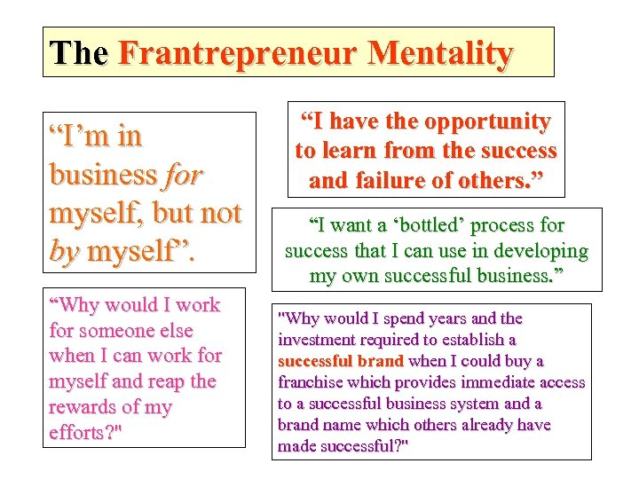 """The Frantrepreneur Mentality """"I'm in business for myself, but not by myself"""". """"Why would"""