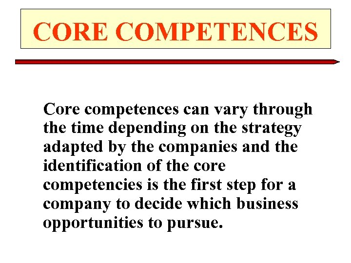 CORE COMPETENCES Core competences can vary through the time depending on the strategy adapted