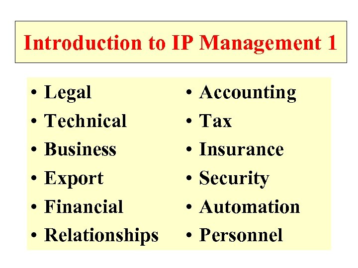 Introduction to IP Management 1 • • • Legal Technical Business Export Financial Relationships