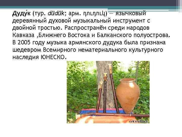 Дуду к (тур. düdük; арм. դուդուկ) — язычковый деревянный духовой музыкальный инструмент с двойной