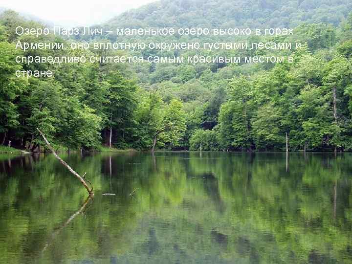 Озеро Парз Лич – маленькое озеро высоко в горах Армении, оно вплотную окружено густыми