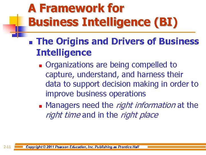 A Framework for Business Intelligence (BI) n The Origins and Drivers of Business Intelligence