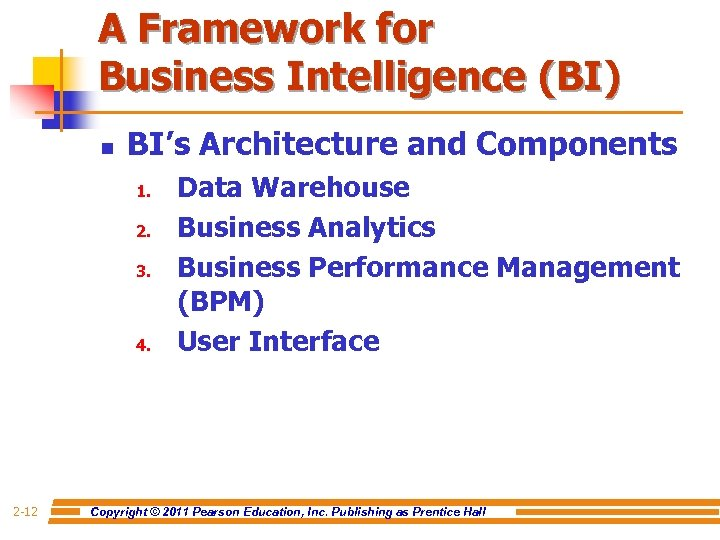 A Framework for Business Intelligence (BI) n BI's Architecture and Components 1. 2. 3.