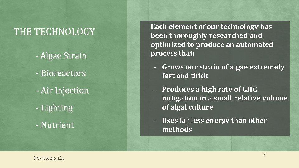 THE TECHNOLOGY - Algae Strain - Bioreactors - Each element of our technology has